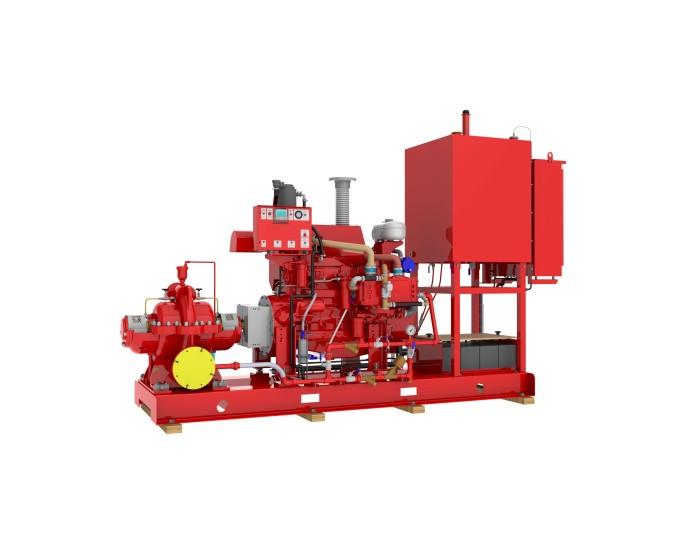 Split case diesel fire pump